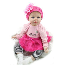 NPK Silicone Reborn Baby Dolls 55 cm lifelike handmade Krista Soft Vinyl toys Christmas Birthday Gifts Hot sales newborn doll(China)