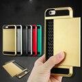 Híbrido caso de la cubierta de armadura resistente para iphone 6 6 s deslizador tarjeta identificación de la carpeta ranura de coque para apple iphone 6 6 s plus i6 6 + bolso del teléfono fundas