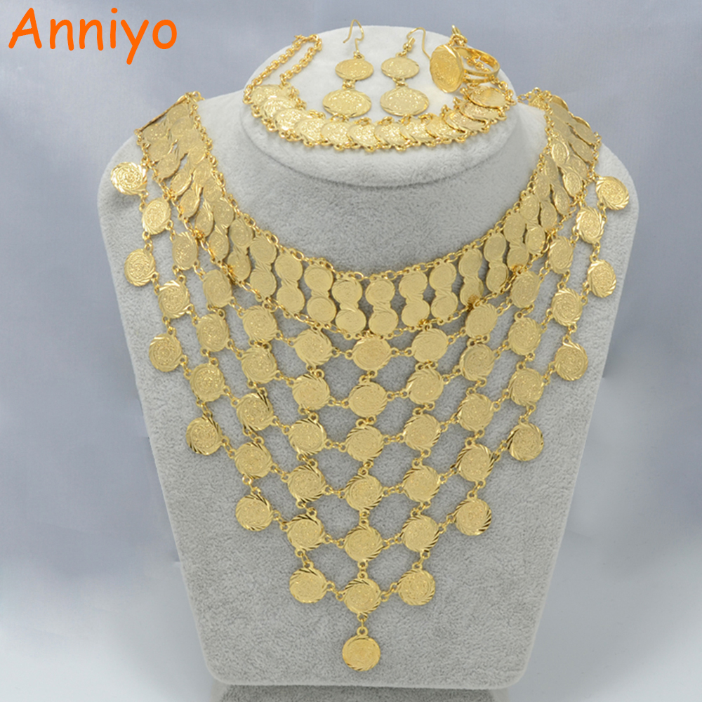 Anniyo 2 style Wedding set Jewelry Coin Necklace Bracelet Earring Ring Gold Color Arab Bridal Middle