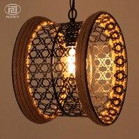 Southeast Asian Style Rope Pendant Lamp Weave Village Restaurant Bar Cafe Vintage Waist Drum Edison Bulb Pendant Lights