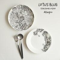 Graffiti Birdies A Black And White High Bone Porcelain Dinner Plate A Steak Plate Western Cuisine