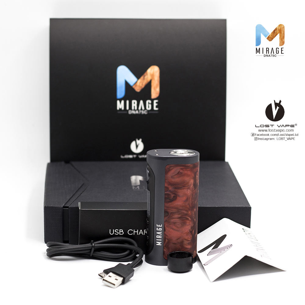 Newest Lost Vape Mirage DNA75C TC Box Mod electronic cigarette mod support Firmware Up-gradable fit 18650/ 20700/ 21700 battery