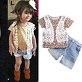 2016 Girls Lace Suit jacket + T shirt + shorts 3pcs/set Leopard denim pants fashion jeans European style street beat children's