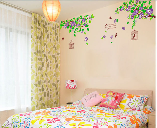 fashion flowers bird cage vinyl wall decals diy princess love home ...