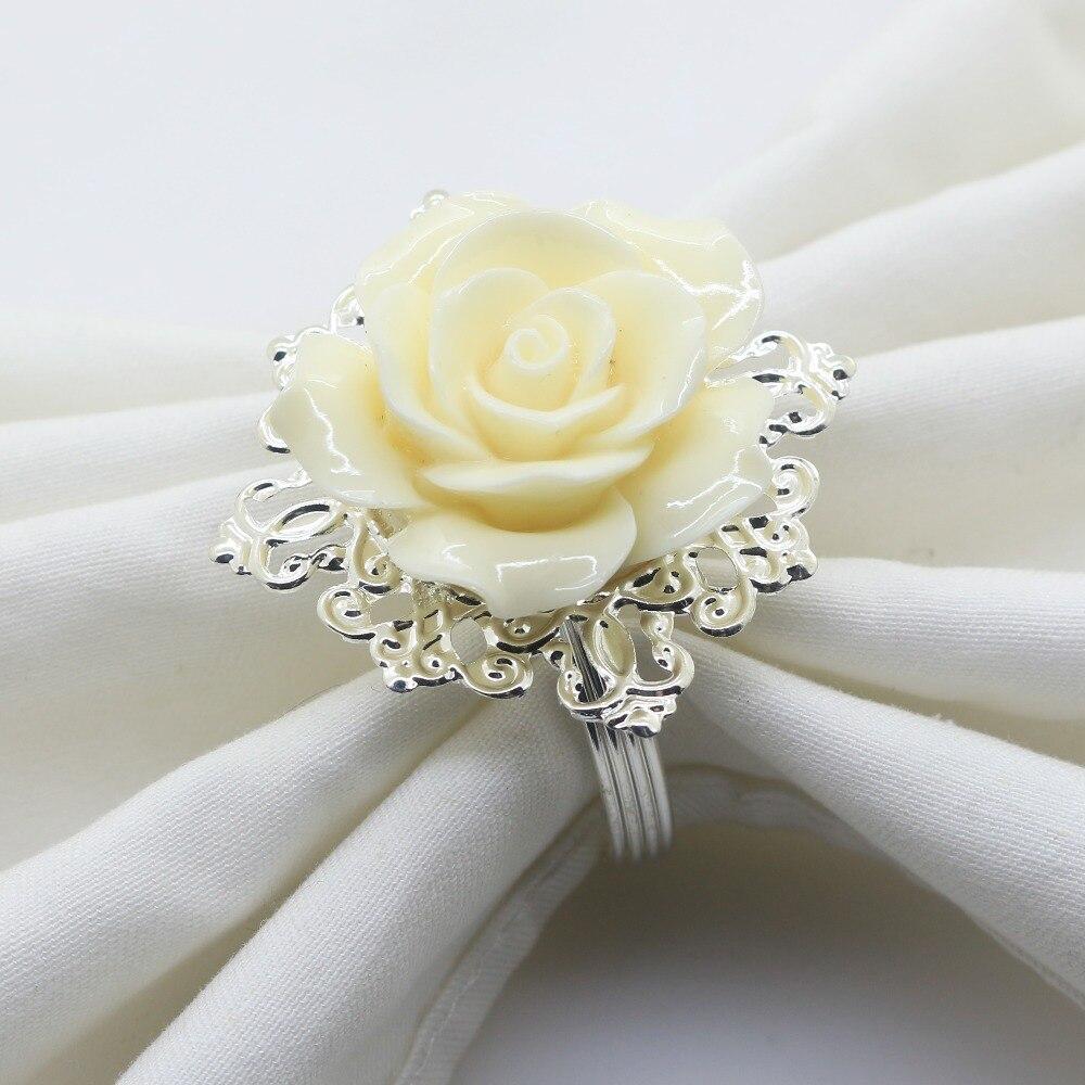 65*48MM 6 Pcs/10 Pcs Beige Resin Rose Napkin Ring, Party Banquet, Wedding Decoration, Brushed Base, Silver napkin rings wedding napkin ringnapkins rings wedding - AliExpress