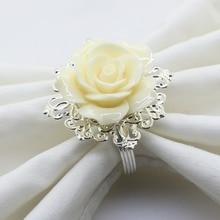 (78777-Anillo de dibujo) 65*48mm 6 uds/10 Uds. Anillo servilletero rosa de resina Beige para Decoración de mesa de boda Banquete de vacaciones