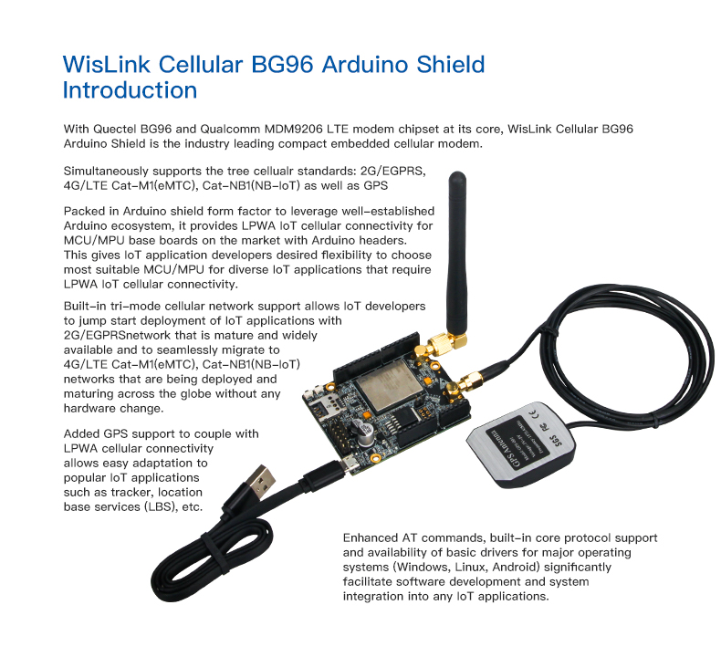 WisLink Cellular BG96 Arduino Shield LTE Cat-M1, NB-IoT