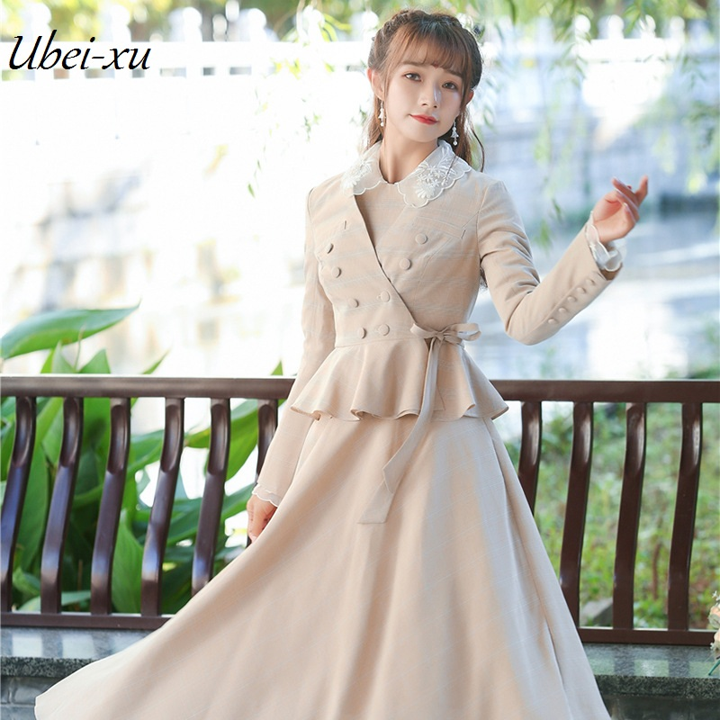 Ubei2019 Women vintage coat versatile flounce jacket small suit spring plaid long dress set women