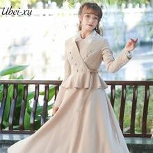 Ubei2019 Women vintage coat versatile flounce jacket small suit spring plaid long dress set women coat flounce swim dress set