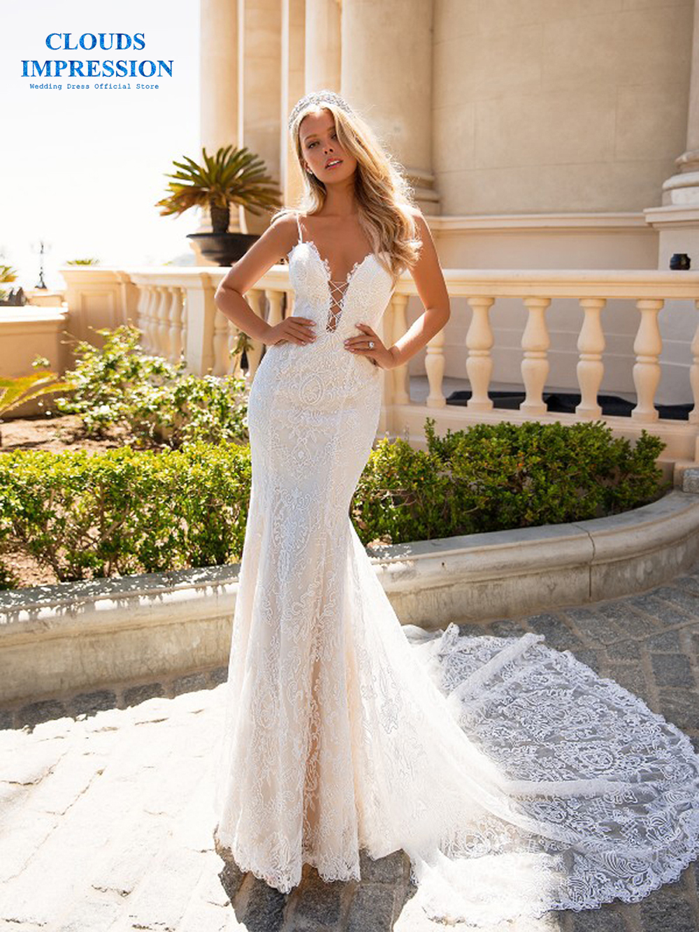 CLOUDS IMPRESSION Sexy Gorgeous Mermaid 2019 Wedding Dress Beading Deep V neck Lace Plus Size Vestige