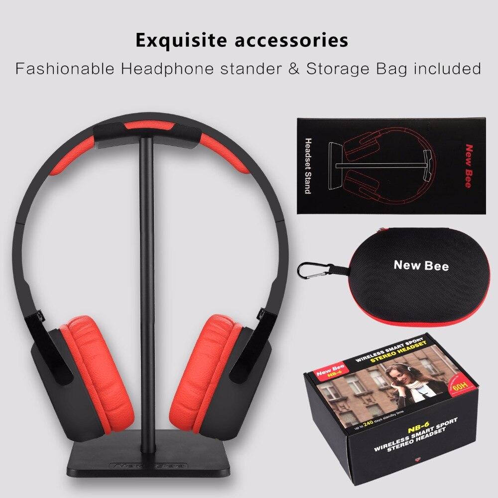 New bee Bluetooth Headphone Sport Headset Stereo Earphone with Mic NFC App Pedometer Earbud Stand Case for Phone PC TV HiFi цены онлайн