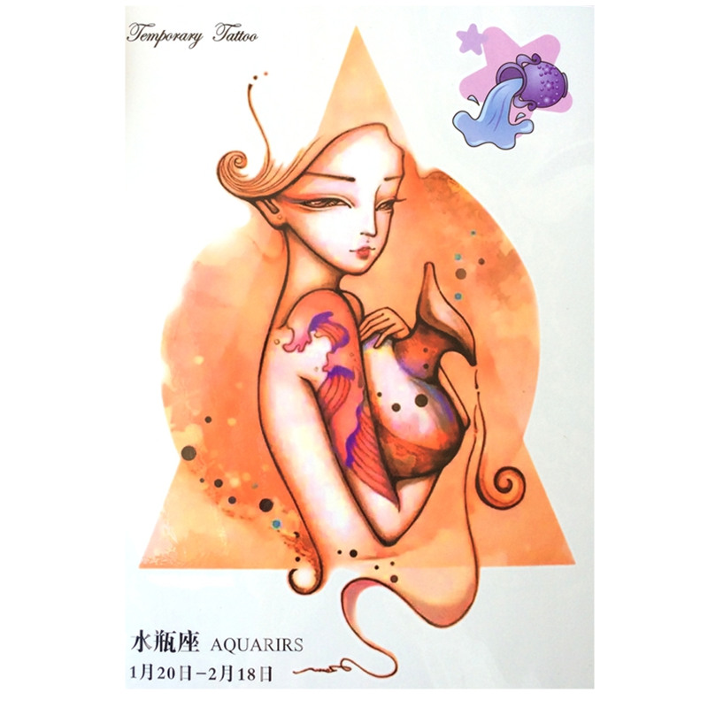 NEW Fashion 12 Constellation Waterproof Hot Temporary Tattoo Stickers Aquarius