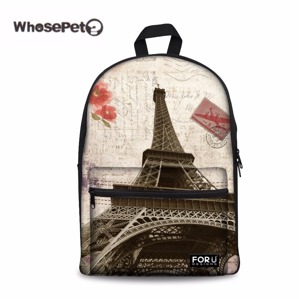 WHOSEPET Eiffel Tower Middle School Book Bags for Teenage Girls Fashion Back Pack Leisure Fresh Ladies Knapsack Travel Big Bags