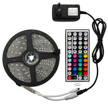 2835 SMD LED Strip Light RGB 5M  LED Light Rgb 60Leds/m Tape Diode 44 Ribbon Flexible Controller DC 12V Adapter Set Remote 24w 300x3528 smd led rgb flexible light strip 5m length dc 12v