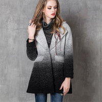 High Quality New Fashion Women Cashmere Coats Jacket Winter Thick Gradient Color Vintage Long Coats Casual