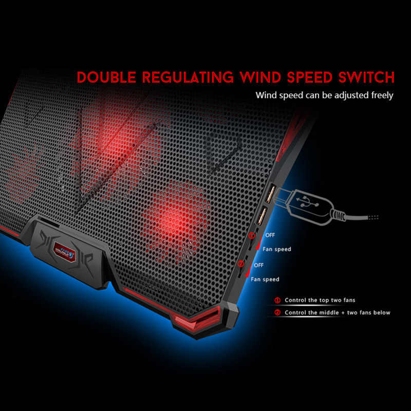 Ноутбук ПК кулер для ноутбука охлаждающая подставка Air Coo светодиодный 5 светодиодный вентилятор 2 usb-порта регулируемый держатель для ноутбука 15 15,6 17