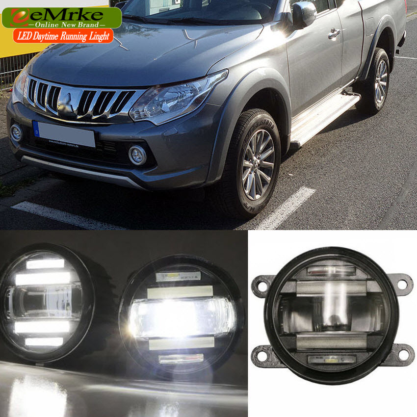 eeMrke Car Styling For Mitsubishi Triton 2015 - up in 1 LED Fog Light Lamp DRL With Lens Daytime Running Lights eemrke car styling for opel zafira opc 2005 2011 2 in 1 led fog light lamp drl with lens daytime running lights