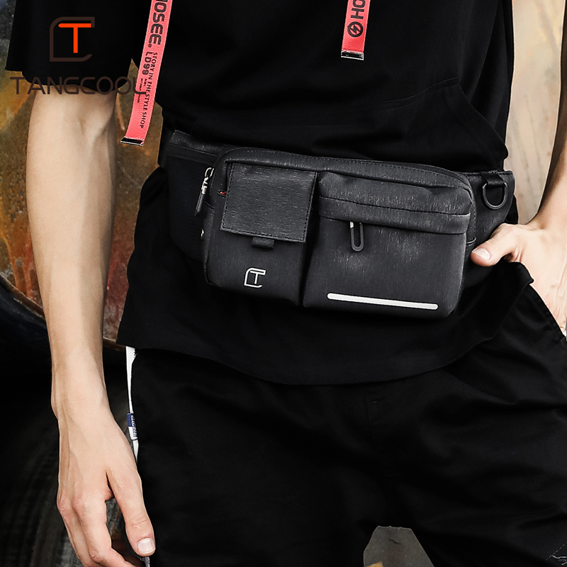 Tangcool  Men Black Waterproof Waist Bags for Men Fashion Cigarette Phone Case Money Belt for Travel Security Outdoor Waist Pack
