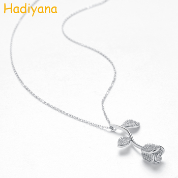 HADIYANA Natural Rose Initial Necklace Beauty Stones Beast Brand Movie Designer Fashion Women Accessories Necklace With Cz XL089