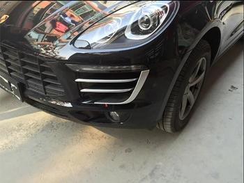 Matt Front Fog Light Upper Cover Inerts Strip Trim 6pcs For Porsche Macan 2014 2015 2016