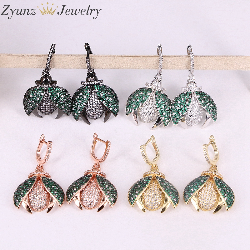 4 Pairs ZYZ293 8779 Micro pave CZ Bugs insect drop earrings fly insect jewelry metal Bugs