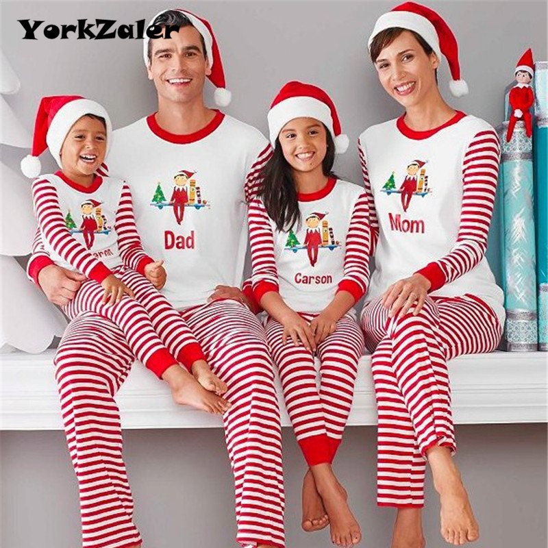 YorkZaler New Year Family Matching Clothing Pajamas Christmas Gift Tracksuit Long Sleeve Shirt Striped Pants Mother Son Outfits