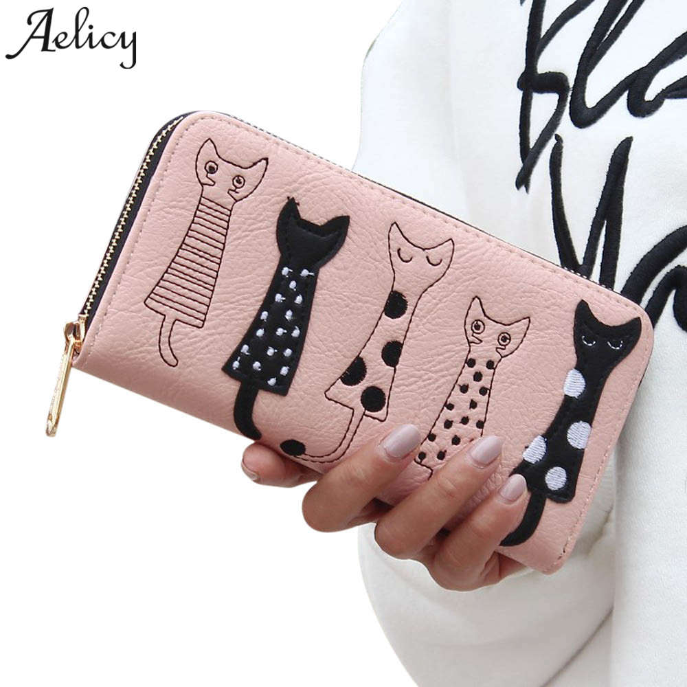 Aelicy Luxury High Quality Women Cat Cartoon Wallet Creative Female Card Holder Casual Zip Ladies Clutch PU Leather Coin Purse خرید کیف پول فانتزی