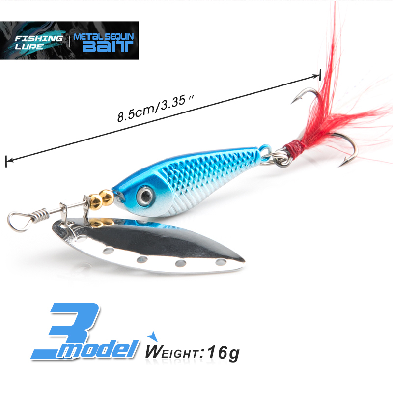 spinner Spoon Metal Bait Fishin Lure Sequins Crankbait Spoon baits for Bass Trout Perch pike rotating Fishing (12)