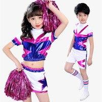 Girls Boys Bright Glee Cheerleader Costumes Set Students School Uniform For Childrens Aerobics Clothes Tops Skirt