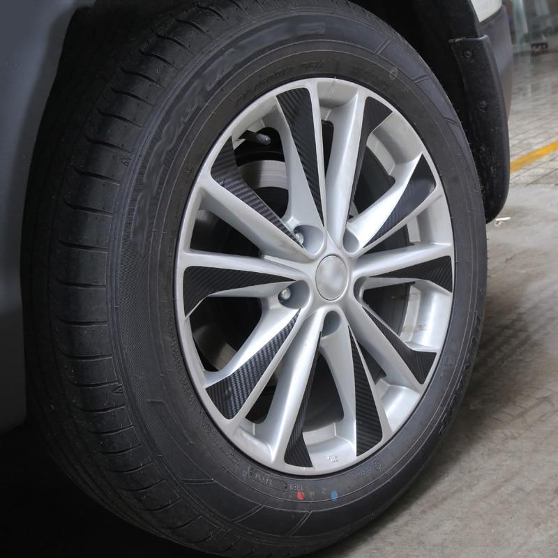 R17 Black Carbon Fiber Vinyl Car Wheel Hub Stickers Rim Sticker Trim Decoration For Nissan Qashqai j11 2014 2015 2016 2017 2018