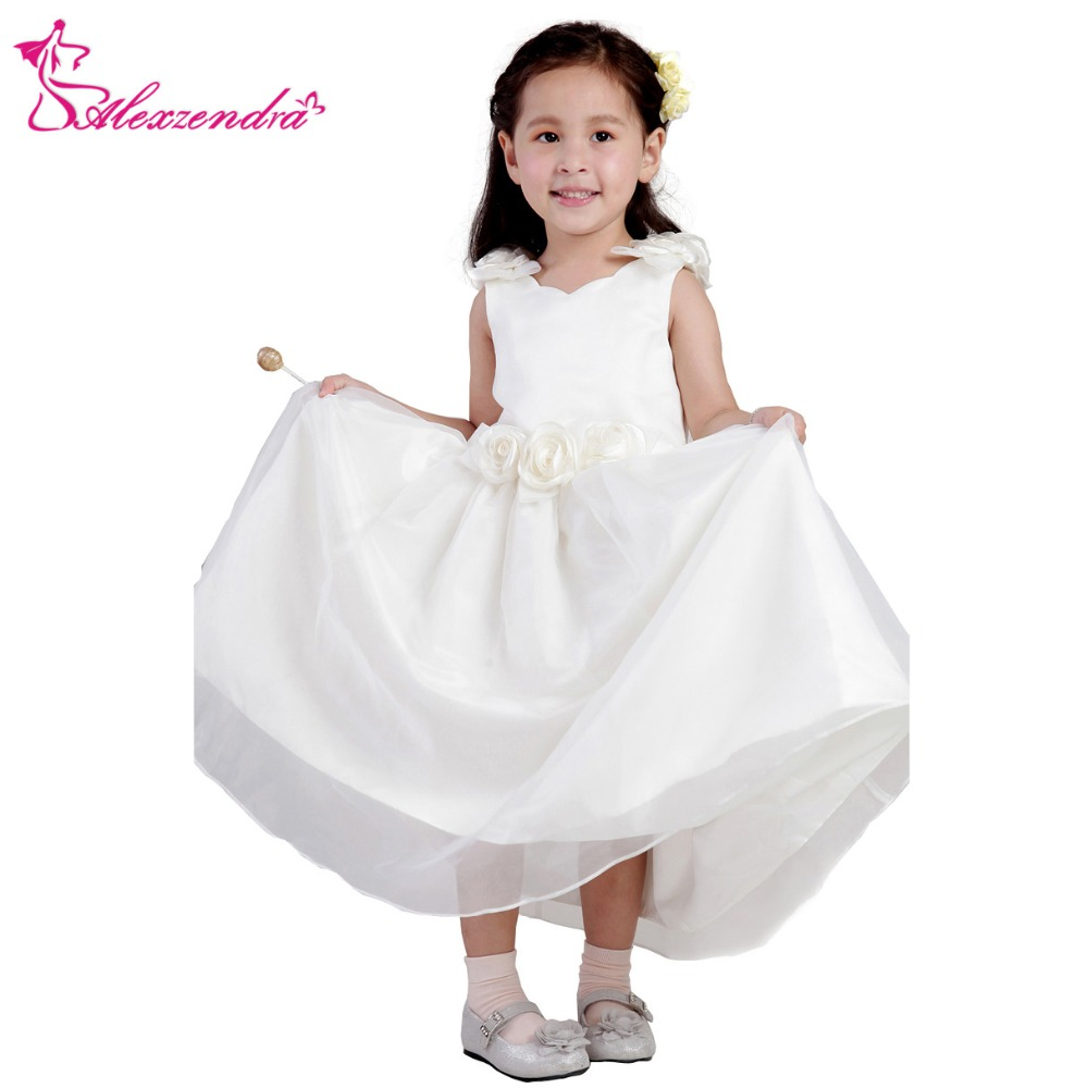 Alexzendra White Ivory Satin Flower Girls Dresses with Flowers Cute Girls First Communion Dress Princess Girl Dress