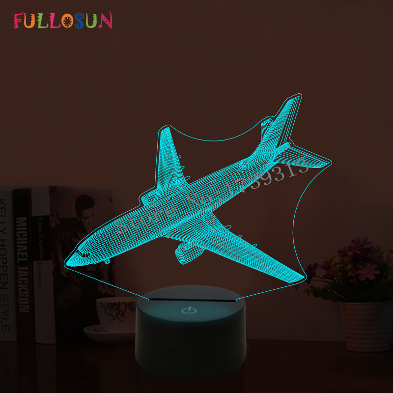Led Table Lamps Led Lamps Responsible Plane Fly Earth 3d Lamp 7 Color Change Remote Switch Small Dask Light Colored Lights Atmosphere Lamp Bedroom Light For Gift