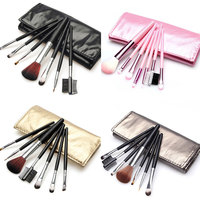 New Women's 7 Pcs Professional Makeup Brush Tools Make Up Brushes Cosmetic Brushes With Case Bag H7JP