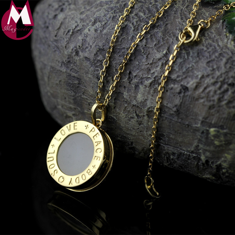 Fine Silver/Gold Color Round Letter Pendant Necklace Women High Quality Natural Jade Pendant Love Peace Silver 925 Jewelry SN08 chic feather letter round shape noctilucent pendant necklace for women