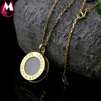 Fine Silver/Gold Color Round Letter Pendant Necklace Women High Quality Natural Jade Pendant Peace Silver 925 Jewelry SN08