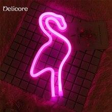 DELICORE New USB Battery Neon Lamp Holiday Light Flamingo Shaped LED Night