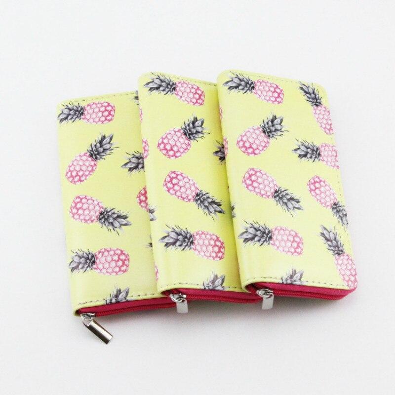 Cartera larga de piel sintética con diseño de piña rosa para mujer, bolso de mano para teléfono a la moda para adolescentes