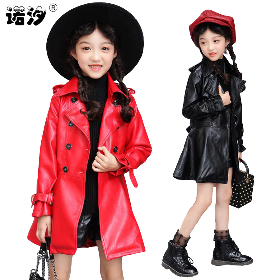 Girls clothes Kids PU Leather jacket girls fashion spring autumn long coat girls Outwear Baby child clothes 3~13 Y girls outwear 2015 new girls design jacket luxury brand child outwear flower printed coat