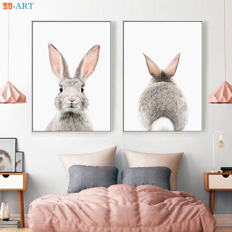Minimalist Bunny Rabbit Canvas Painting Print Poster Nursery Wall Art Wall Pictures For Living Room Kids Room Decor