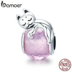 BAMOER Authentic 100% 925 Sterling Silver Cute Cat Pussy Big Stone Charm Beads fit Women Bracelet DIY Beads Jewelry SCC447