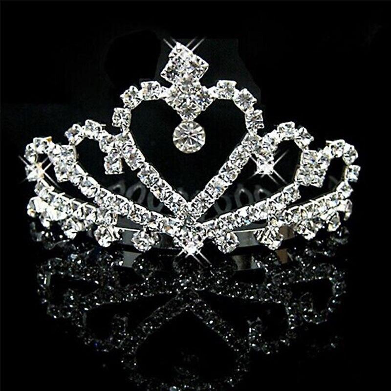 Bridal Wedding Hair Accessories Baroque Shine Rhinestone Heart Bride Tiaras Crowns Hair Comb Crystal Diadem Metal Hair Jewelry