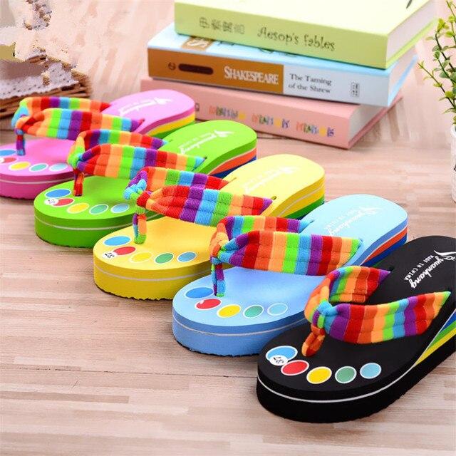 1d4061de4772 Teen Girls Flip Flops Kids Casual Slippers Home Shoes Woman Home Sandals  Beach Swim Shoes Fashion Rainbow Cloth Thicken Heal EVA