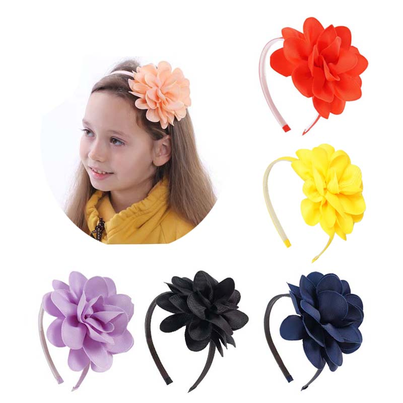 2Pcs/lot High Quality Big Flower Hair Bows Headband Plastic Teeth Ribbon Hairbands Hoop Hair Accessories For Girls 10pcs lot high quality hair band with grosgrain ribbon flower for girls handmade flower hairbow hairband kids hair accessories