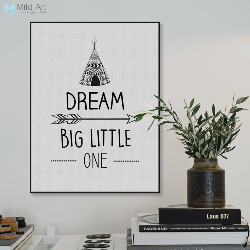 Moderní černý bílý sen Velká motivace Citáty A4 Umělecká reprodukce Plakát Nástěnný obraz Obrazy na plátně Skandinávská dětská pokoj Dekor bez rámu