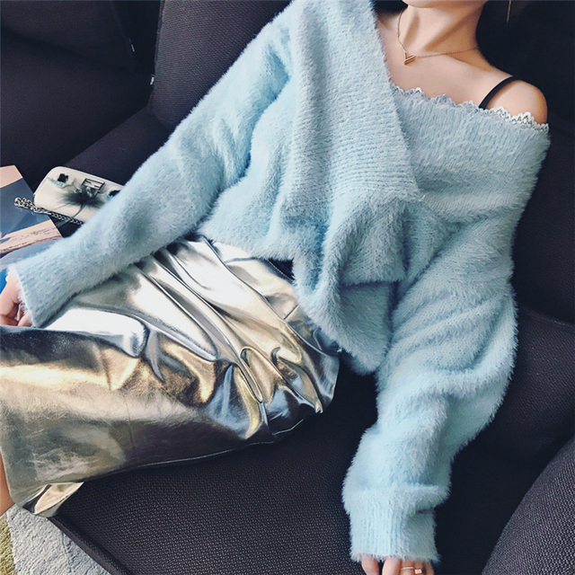 Lace V-neck Pullover Sweater 2018 Autumn Long Sleeve Pullovers Fashion Slim Solid Sweaters Pullovers Pull Femme
