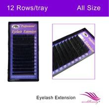 freeshipping,4trays per lot ,silk eyelash extension,0.10/0.15/0.20mm J/B/C/D curl all length eyelash extension