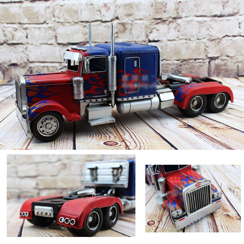 ФОТО Hot wheel Vintage Car Model Movie Optimus Prime Transformation Truck toys 1:12 safe Cool Diecast Metal Car Toys For collection