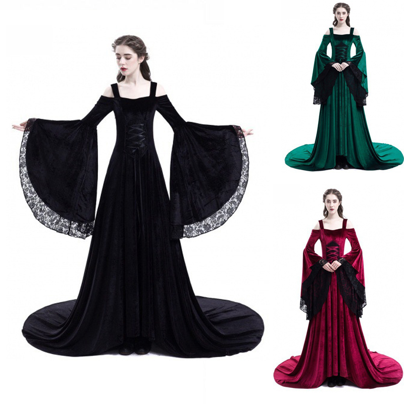 High Quality Halloween Dress Medieval Palace Princess Adults Women Gothic Queen Party Costumes Plus Size S-5XL