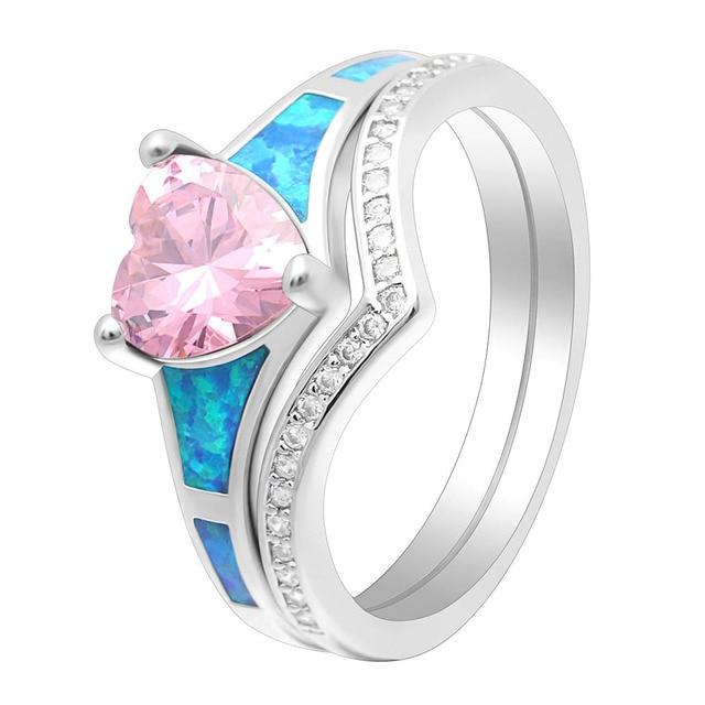 Фото женские кольца с опалом в форме сердца 2 шт винтажные ювелирные цена