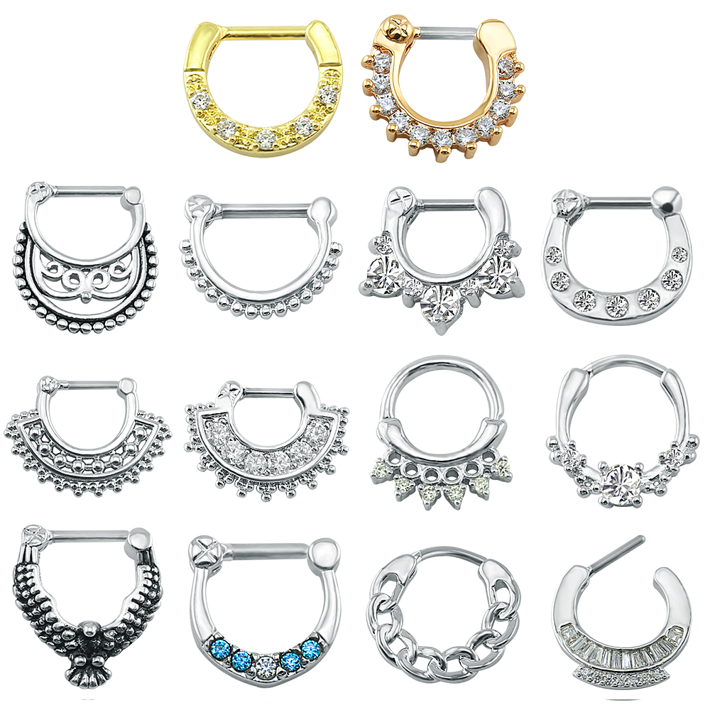16G Nose Piercing Ring Indian Nose Septum Ring Clicker Nose Rings Piercing Body Jewelry Hoops Helix Piercing Ear Cartilage Gifts